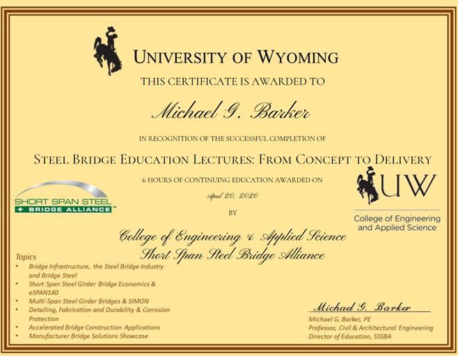 SSSBA Certificate